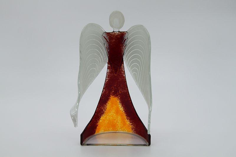 Glasengel Engel stehend dunkelrot orange 3