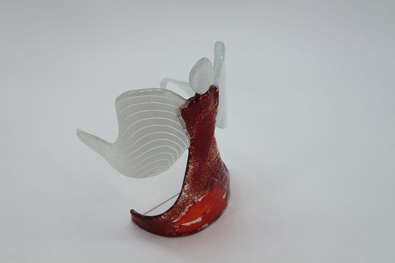 Glasengel Engel stehend dunkelrot rot  1 4