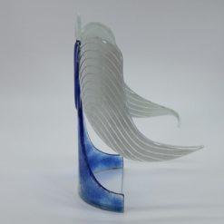 Glasengel Engel stehend hellblau Baum 2