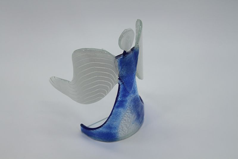 Glasengel Engel stehend hellblau Baum 4