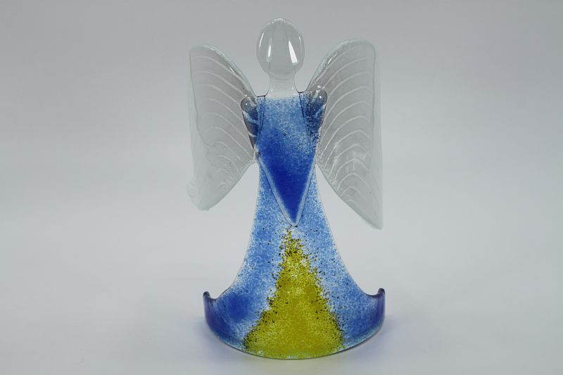 Glasengel Engel stehend hellblau gelb 1