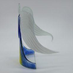 Glasengel Engel stehend hellblau gelb 2