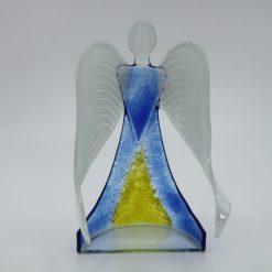 Glasengel Engel stehend hellblau gelb 3