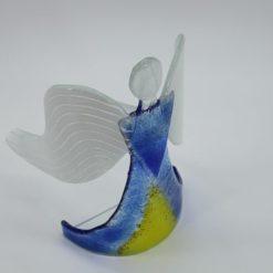 Glasengel Engel stehend hellblau gelb 4