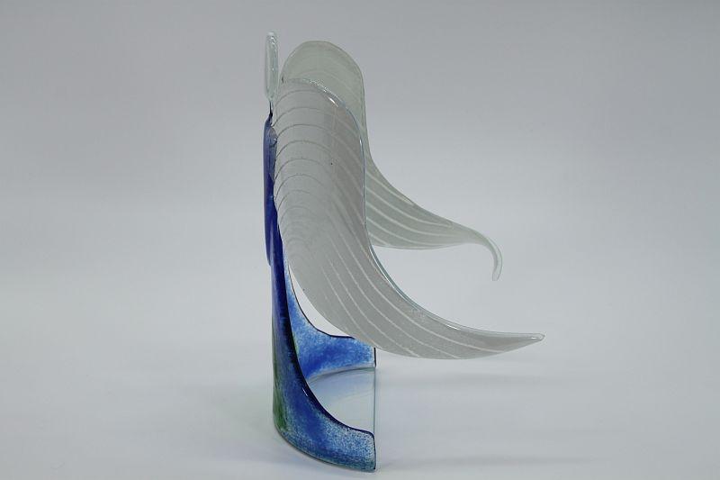 Glasengel Engel stehend hellblau grün 2
