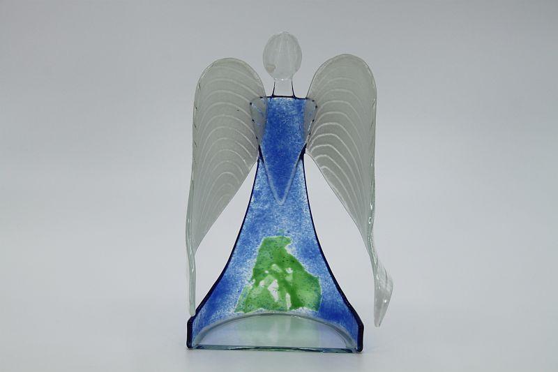 Glasengel Engel stehend hellblau grün 3
