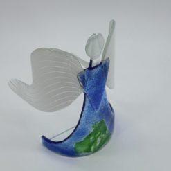 Glasengel Engel stehend hellblau grün 4