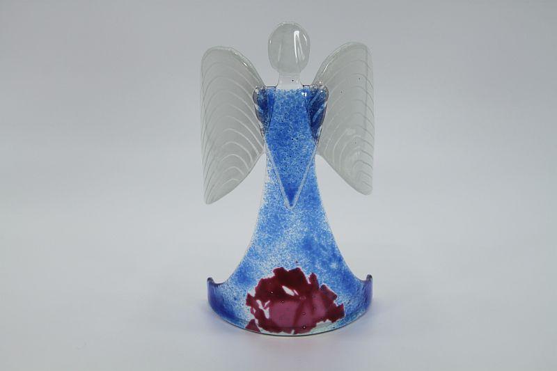 Glasengel Engel stehend hellblau rose 1