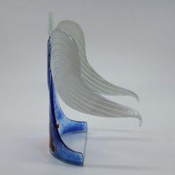 Glasengel Engel stehend hellblau rose 2
