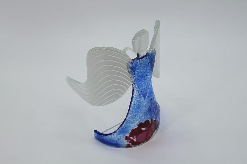 Glasengel Engel stehend hellblau rose 4