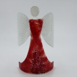 Glasengel Engel stehend hellrot rot 1