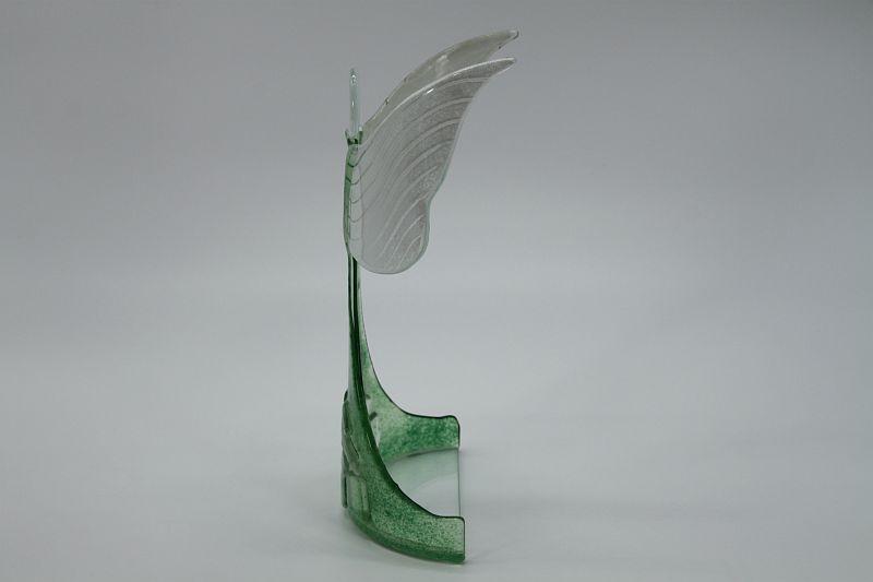 Glasengel Engel stehend oben Kristall grün 2