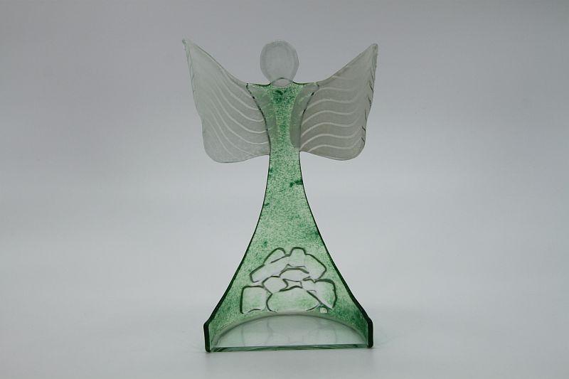 Glasengel Engel stehend oben Kristall grün 3