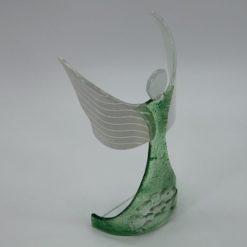 Glasengel Engel stehend oben Kristall grün 4