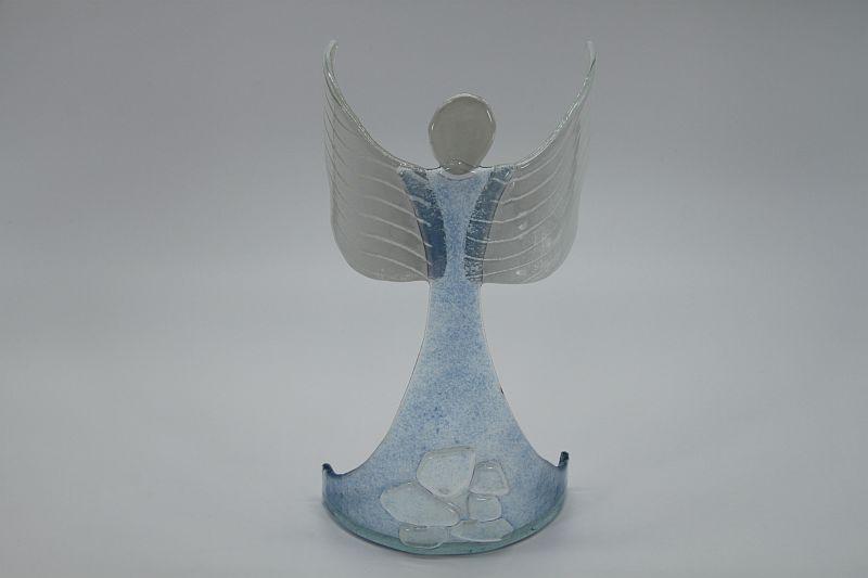 Glasengel Engel stehend oben Kristall hellblau 1