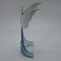Glasengel Engel stehend oben Kristall hellblau 2