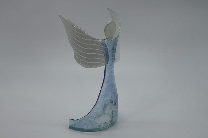 Glasengel Engel stehend oben Kristall hellblau 5