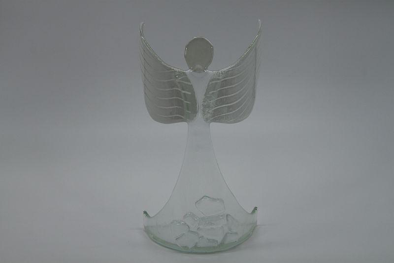 Glasengel Engel stehend oben Kristall transparent 1