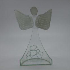 Glasengel Engel stehend oben Kristall transparent 3