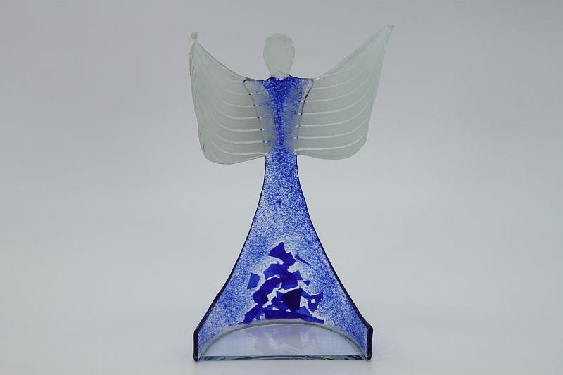 Glasengel Engel stehend oben dunkelblau blau 1 3
