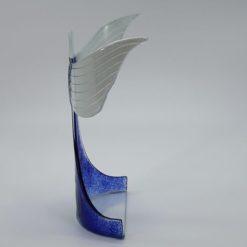 Glasengel Engel stehend oben dunkelblau grün 2