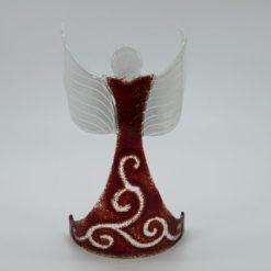 Glasengel Engel stehend oben dunkelrot barock 1