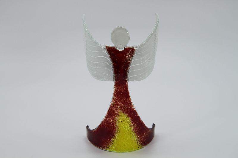 Glasengel Engel stehend oben dunkelrot gelb 1