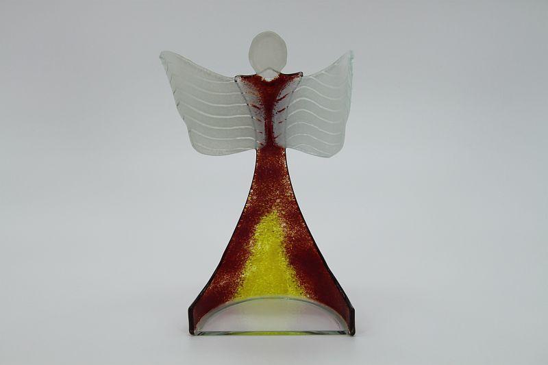 Glasengel Engel stehend oben dunkelrot gelb 3