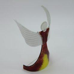 Glasengel Engel stehend oben dunkelrot gelb 4
