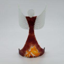 Glasengel Engel stehend oben dunkelrot orange 1