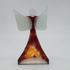 Glasengel Engel stehend oben dunkelrot orange 3