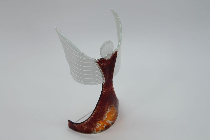 Glasengel Engel stehend oben dunkelrot orange 4