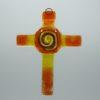 Glasbild Glaskreuz Spirale orange gelb 1