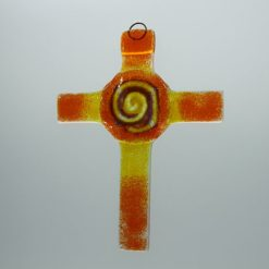Glasbild Glaskreuz Spirale orange gelb 2