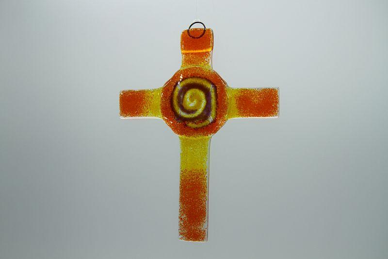 Glasbild Glaskreuz Spirale orange gelb 2