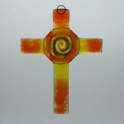 Glasbild Glaskreuz Spirale orange gelb 3