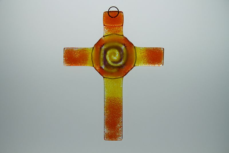 Glasbild Glaskreuz Spirale orange gelb 3