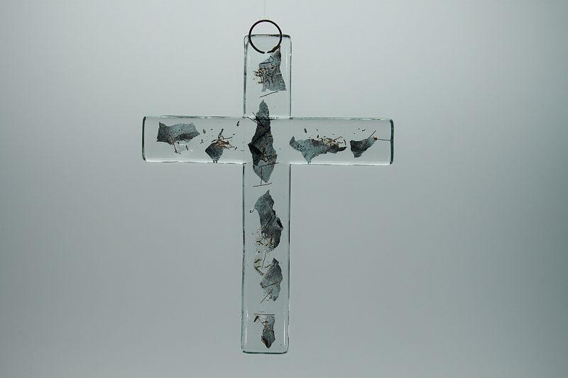 Glasbild Glaskreuz Metall 3