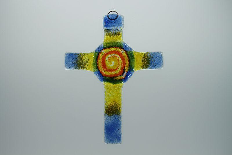 Glasbild Glaskreuz Spirale blau orange 1