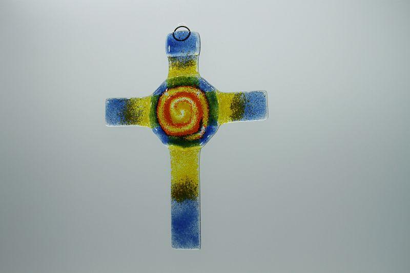 Glasbild Glaskreuz Spirale blau orange 2