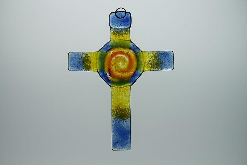 Glasbild Glaskreuz Spirale blau orange 3