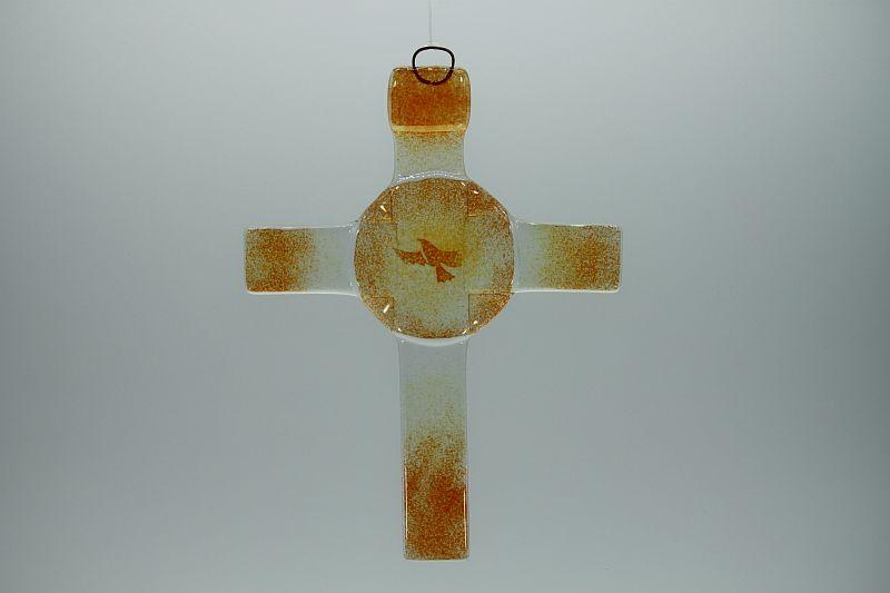 Glasbild Glaskreuz Taube orange 1