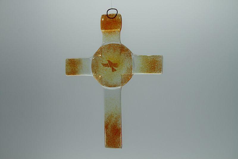 Glasbild Glaskreuz Taube orange 2
