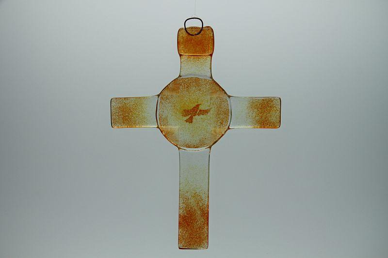 Glasbild Glaskreuz Taube orange 3