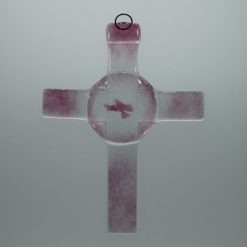 Glasbild Glaskreuz Taube rose 1