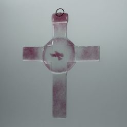 Glasbild Glaskreuz Taube rose 2
