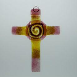 Glasbild Glaskreuz Spirale rose gelb 1