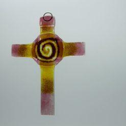 Glasbild Glaskreuz Spirale rose gelb 2