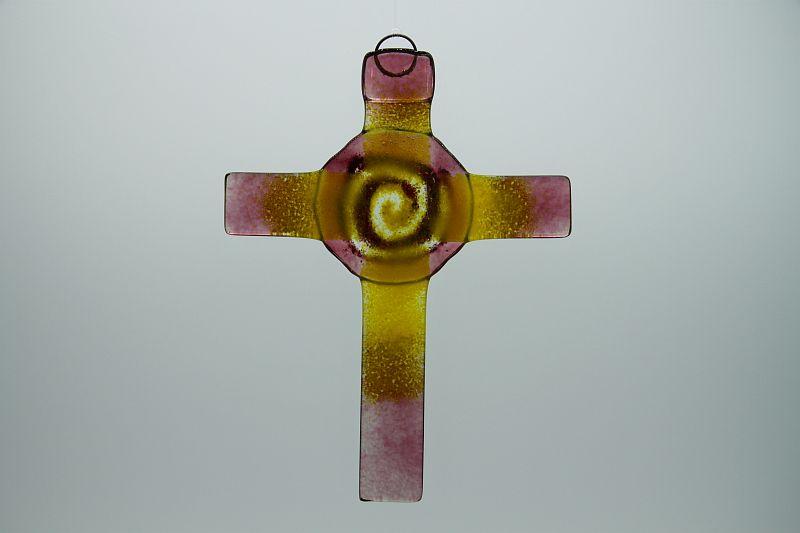 Glasbild Glaskreuz Spirale rose gelb 3