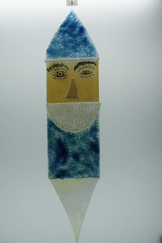Glasbild Glasnikolaus groß blau 1